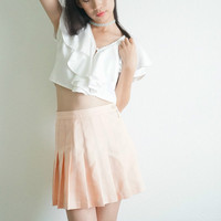 90's Crop Top, White Draped Collar Button Up Crop Lolita Top/ Blouse with Pearl Buttons , S/M