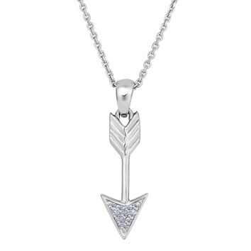 Sterling Silver Drop Arrow With Cz Sliding Pendant Fashion Necklace - 18 Inch