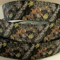 "Grosgrain Ribbon, 7/8"" Woodsy Ground Camo Grosgrain Ribbon--Camouflage Printed Ribbon, sold by the yard"