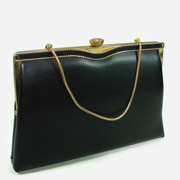 Verdi Black Leather Purse Gold Rope Trim Handbag Pocketbook Clutch