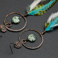 Big hoop earrings Statement earrings Turquoise earrings Hammered copper earring Bohemian jewelry Turquoise stone Artisan jewelllery Boho