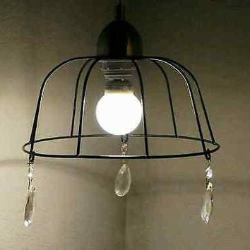Rustic FarmHouse Style Black Wire Basket Pendant Light w/Crystal Glass Prisms