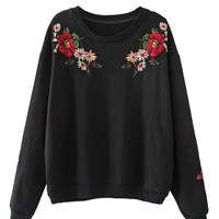 Black Embroidery Flower Long Sleeve Sweatshirt