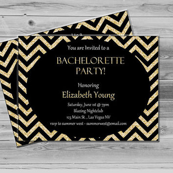 Custom Bachelorette Party Invitation, Gold Glitter Chevron Invitation Printable, Chevron Bachelorette Invite JPEG