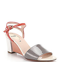 Fendi - Fantasia Matte & Patent Leather Sandals - Saks Fifth Avenue Mobile