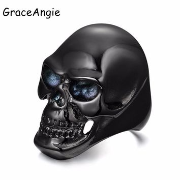 GraceAngie Titanium Steel Skull Ring Black Zircon Women Wedding Ring Punk Jewelry size 8-12 Male  Silver Huge Skull Ring Design