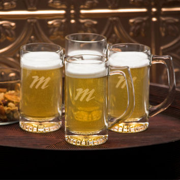 Personalized beer mugs tavern mug set monogrammed customized monogram engraved custom barware glasses steins glass glassware