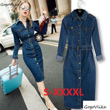 Slim pencil dress Maxi Jeans Dress 2017 Women Denim Long Vestidos One-piece Cowboy Dress 4XL With Belt For Women