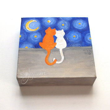 Love Cats, whimsical romantic cat painting, 6x6 inch acrylic art