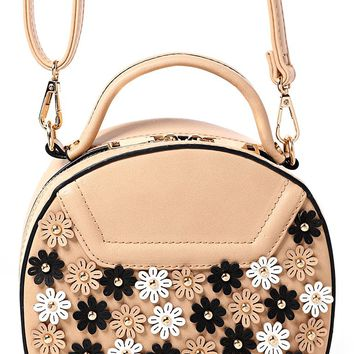 Floral Embellished Round Across Body Bag in Beige
