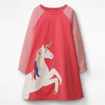 Jumping meters 2018 new arrive baby girls dresses children clothes applique unicorn hot selling kids fall embroidery girl dress