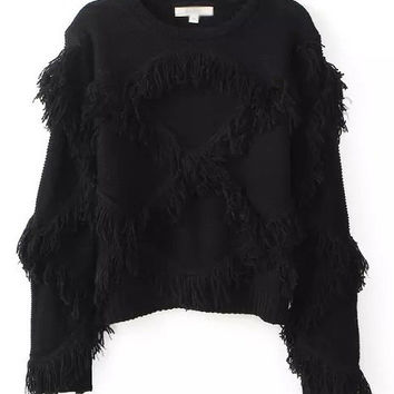 Long Sleeve Fringed Grid Embroidery Sweater