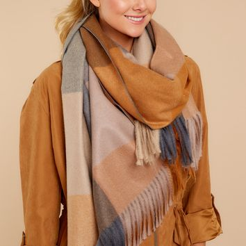 More Than Comfort Grey Multi Plaid Scarf