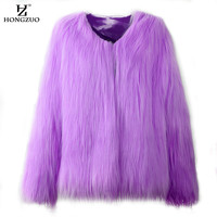 [HONGZUO] 2017 New Winter Women Fluffy Thick Warm Purple Fur Coat Long Sleeve Faux Fur Coats Hairy Overcoat Black Jacket PC111