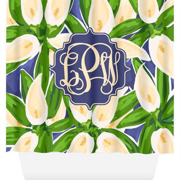 Lilly Pulitzer Inspired Monogram Shower Curtain | Gift for Her