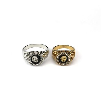 New Fashion Gold and Silver Colors Classic Men's Punk Style Hip Hop Ring Lion Head males man Finger rings for men women