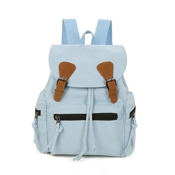 School Backpack trendy Moon Wood Casual Small Women Canvas Belt Backpack Preppy Style Denim Drawstring Backpack Girls School Bag Travel Shoulder Bag AT_54_4