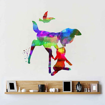 kcik2105 Full Color Wall decal Watercolor Bambi Character Disney Sticker Disney children's room Fawn