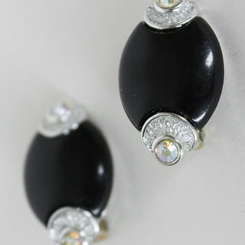 Vintage 80s Earrings / 1980s Deco Style Kramer Oval Plastic and Rhinestone Clip Ons