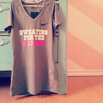 """NIKE Pro Women's V neck Spandex Workout Top - """"Sweating for the wedding"""" 22 Colors Available"""