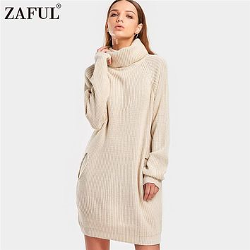 ZAFUL 2018 Winter Warm Sweater Women Jumpers Pullovers Knitted Sweaters Turtleneck Raglan Sleeve Pockets Long Sweater pull femme