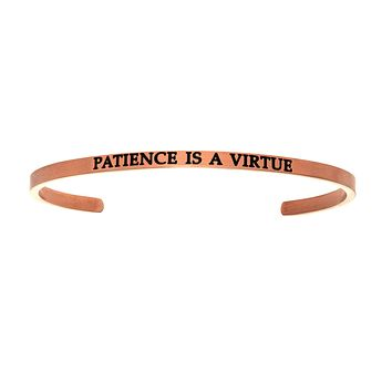 Intuitions Stainless Steel PATIENCE IS A VIRTUE Diamond Accent Cuff Bangle Bracelet