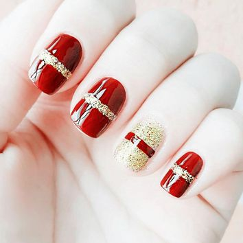 24 Pcs/ Set Fashion Red Fake Nail With Glitter Acrylic Full Cover False Nails Square Nail Art for Girls Women YF2017