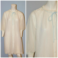 Vintage 1960's Gossard Artemis White Sheer Nightgown Nightie Lace with Blue Bow and Trim Size Small Nylon Button Front Short Sleeve Lingerie
