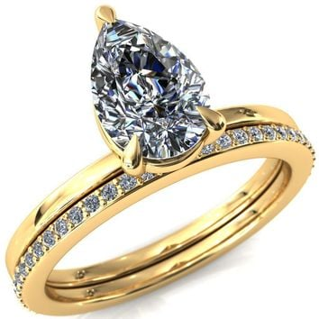 Cynthia Pear Moissanite 3 Claw Prong Solitaire Ring