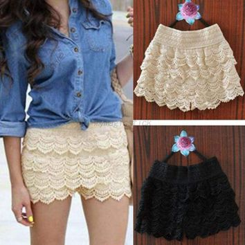 US Women Plus Size Lace Crochet Short Pants Elastic Waist Beach Hot Shorts Pants