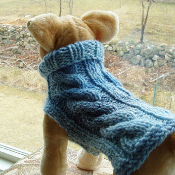 Dog Sweater Hand Knit Sky Cable Small  Wool Blend by jenya2