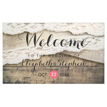 Rustic Country Wood Burlap Lace Wedding Welcome Banner