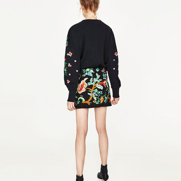 EMBROIDERED MINI SKIRT Look+: 1 of 2