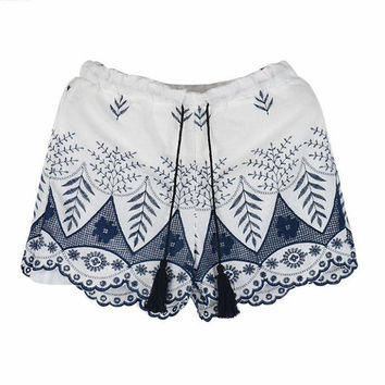 Lace Embroidered Tassel Shorts