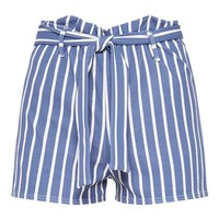Blue Striped Paperbag Shorts