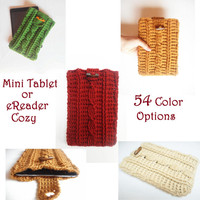 Cable Stitch Mini Tablet or e-Reader Cozy in 54 Color Options, MADE TO ORDER. $30USD
