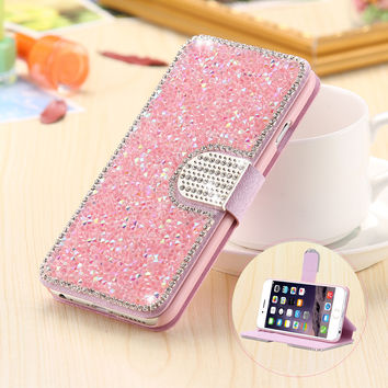 Luxury Full Body Bling Diamond Flip Leather Wallet Case For iPhone 6 6S/5S 5/6 6s Plus Silk Pattern Card Slot Stand Holder Cover