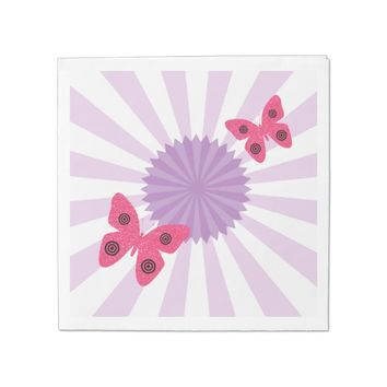 Lilac and Pink Butterfly Paper Serviettes Napkin