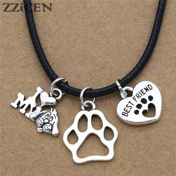 New Simple Cute Antique Silver I Love My Dog Charms Dog's Paw Best Friend Heart Pendant Leather Chain Necklace Dog Lover Gifts