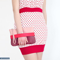 "Red clutch ""CarryMe"", vegan leather purse"