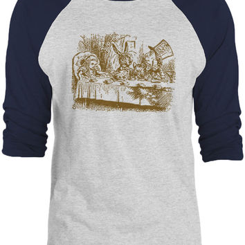 Big Texas Alice in Wonderland - Mad Hatters Tea Party (Brown) 3/4-Sleeve Raglan Baseball T-Shirt