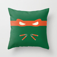 Orange Ninja Turtles Michelangelo Throw Pillow by 1986