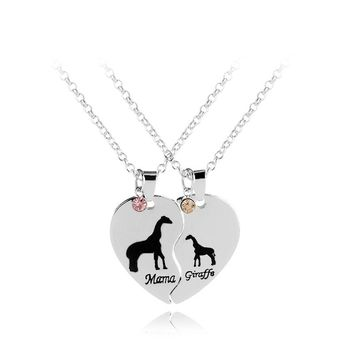 2pcs/set Mama & Giraffe with Rhinestone Alloy Silver Pendant love family Necklace For Yourself Or Mother gift