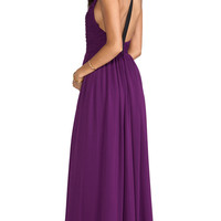 Alice + Olivia Runie Ruched Bodice Leather T-Back Maxi Dress in Purple