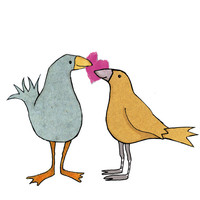LOVE BIRDS. Two plump friendly birds holding a pink heart  .Printed card from collage original.