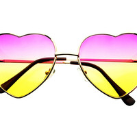 Heart Shaped Gold Metal Retro Fashion Sunglasses Pink Yellow Lens W1432