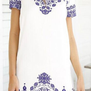 White Short Sleeve Printed Dress