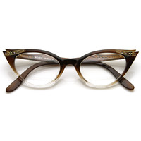 Vintage 1950's Womens Cat Eye Clear Lens Glasses 8783