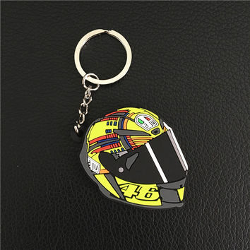 MOTOGP Valentino Rossi Motorcycle helmet keychain PVC Rubber Marc Marquez 93 Jorge Lorenzo 99 rockstar 46 the doctor 3D keychain