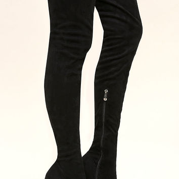 Callisto Black Suede Thigh High Boots